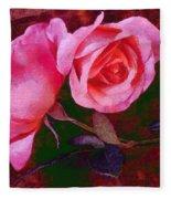 Roses Silked Pink Vegged Out Fleece Blanket