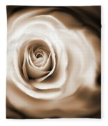 Rose's Whisper Sepia Fleece Blanket