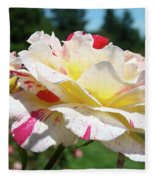 Roses White Pink Yellow Rose Flowers 3 Rose Garden Art Baslee Troutman Fleece Blanket