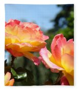Roses Yellow Roses Pink Summer Roses 4 Blue Sky Landscape Baslee Troutman Fleece Blanket