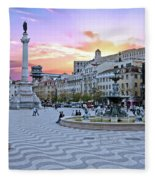 Rossio Square In Lisbon Portugal At Sunset Fleece Blanket