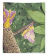 Rosy Maple Moth Gathering Fleece Blanket