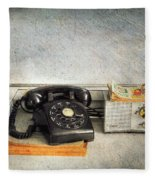 Rotary Dial Phone In Black S And H Stamps Fleece Blanket