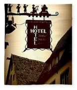 Rothenburg Hotel Sign - Digital Fleece Blanket
