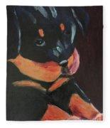 Rottweiler Puppy Fleece Blanket