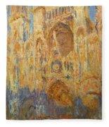 Rouen Cathedral, Facade, Sunset Fleece Blanket