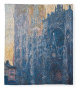 Rouen Cathedral, The Portal, Morning Fleece Blanket