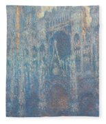 Rouen Cathedral, The Portal, Morning Light Fleece Blanket