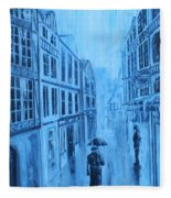 Rouen In The Rain Fleece Blanket