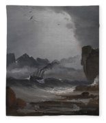 Rough Sea With A Steamer Near The Coast Of Norway Fleece Blanket