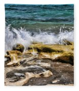 Rough Seas At Blowing Rock Fleece Blanket
