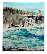 Rough Water At Split Rock Fleece Blanket