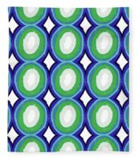 Round And Round Blue And Green- Art By Linda Woods Fleece Blanket