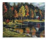 Round Pond Newbury Vermont Plein Air Fleece Blanket