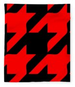 Rounded Houndstooth Black Background 02-p0123 Fleece Blanket