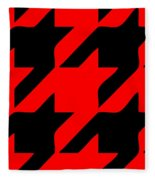 Rounded Houndstooth Black Pattern 02-p0123 Fleece Blanket