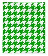 Rounded Houndstooth White Pattern 09-p0123 Fleece Blanket