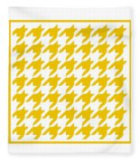 Rounded Houndstooth With Border In Mustard Fleece Blanket