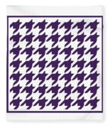 Rounded Houndstooth With Border In Purple Fleece Blanket