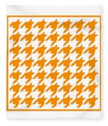 Rounded Houndstooth With Border In Tangerine Fleece Blanket