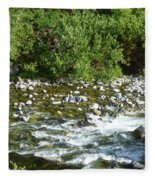 Rounded Rocks In A Rushing River Fleece Blanket