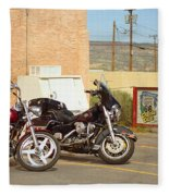 Route 66 - Grants New Mexico Motorcycles Fleece Blanket