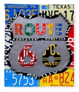 Route 66 Highway Road Sign License Plate Art Fleece Blanket