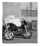 Route 66 Motorcycles Bw Fleece Blanket