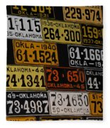 Route 66 Oklahoma Car Tags Fleece Blanket