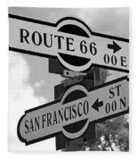 Route 66 Street Sign Black And White Fleece Blanket