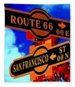 Route 66 Street Sign Stylized Colors Fleece Blanket