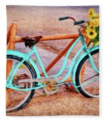 Route 66 Vintage Bicycle Fleece Blanket