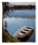 Row Boat In The Fog Fleece Blanket