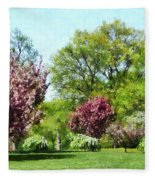 Row Of Flowering Trees Fleece Blanket