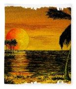 Row Of Palm Trees Fleece Blanket