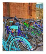 Row Of Student Bikes At Princeton University Nj Fleece Blanket