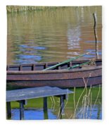 Rowboat And Blue Reflections Fleece Blanket