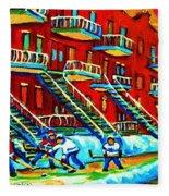 Rowhouses And Hockey Fleece Blanket