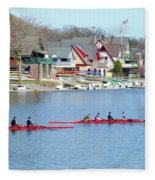 Rowing Along The Schuylkill River Fleece Blanket