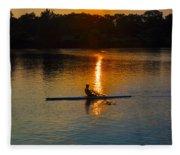 Rowing At Sunset 2 Fleece Blanket