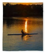 Rowing At Sunset 2 Fleece Blanket