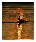 Rowing At Sunset 3 Fleece Blanket