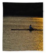 Rowing At Sunset Fleece Blanket