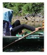 Rowing Boat With Legs, Tam Coc  Fleece Blanket