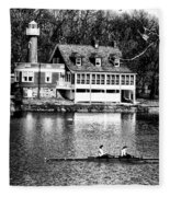 Rowing Past Turtle Rock Light House In Black And White Fleece Blanket