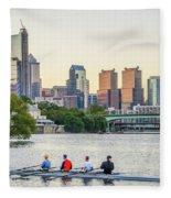 Rowing The Schuylkill - Philadelphia Cityscape Fleece Blanket
