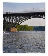 Rowing Under The Strawberry Mansion Bridge Fleece Blanket