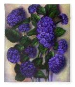 Royal Blue Hydrangea Fleece Blanket