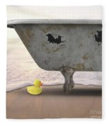Rubber Ducky Bathtub Beach Surreal Fleece Blanket