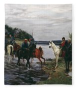 Rubicon. Crossing The River By Denis Davydov Squadron. 1812. Fleece Blanket